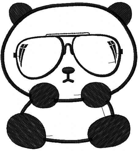 Panda and glass free embroidery design