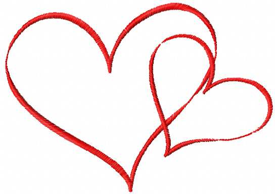 Two loving hearts free embroidery design