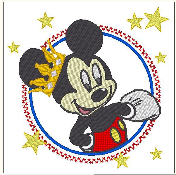 Mouse with applied free embrodiery design