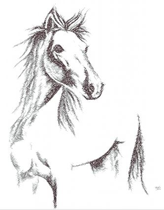 Drawing horse free embroidery design