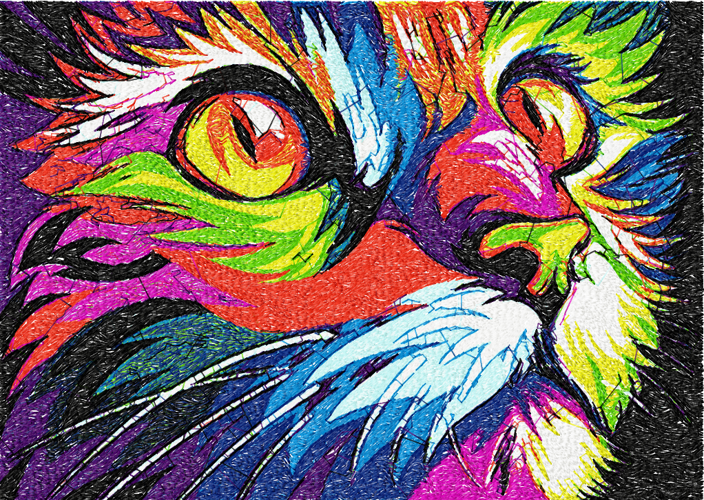 Cat In Bright Colors Photo Stitch Free Embroidery Design Free
