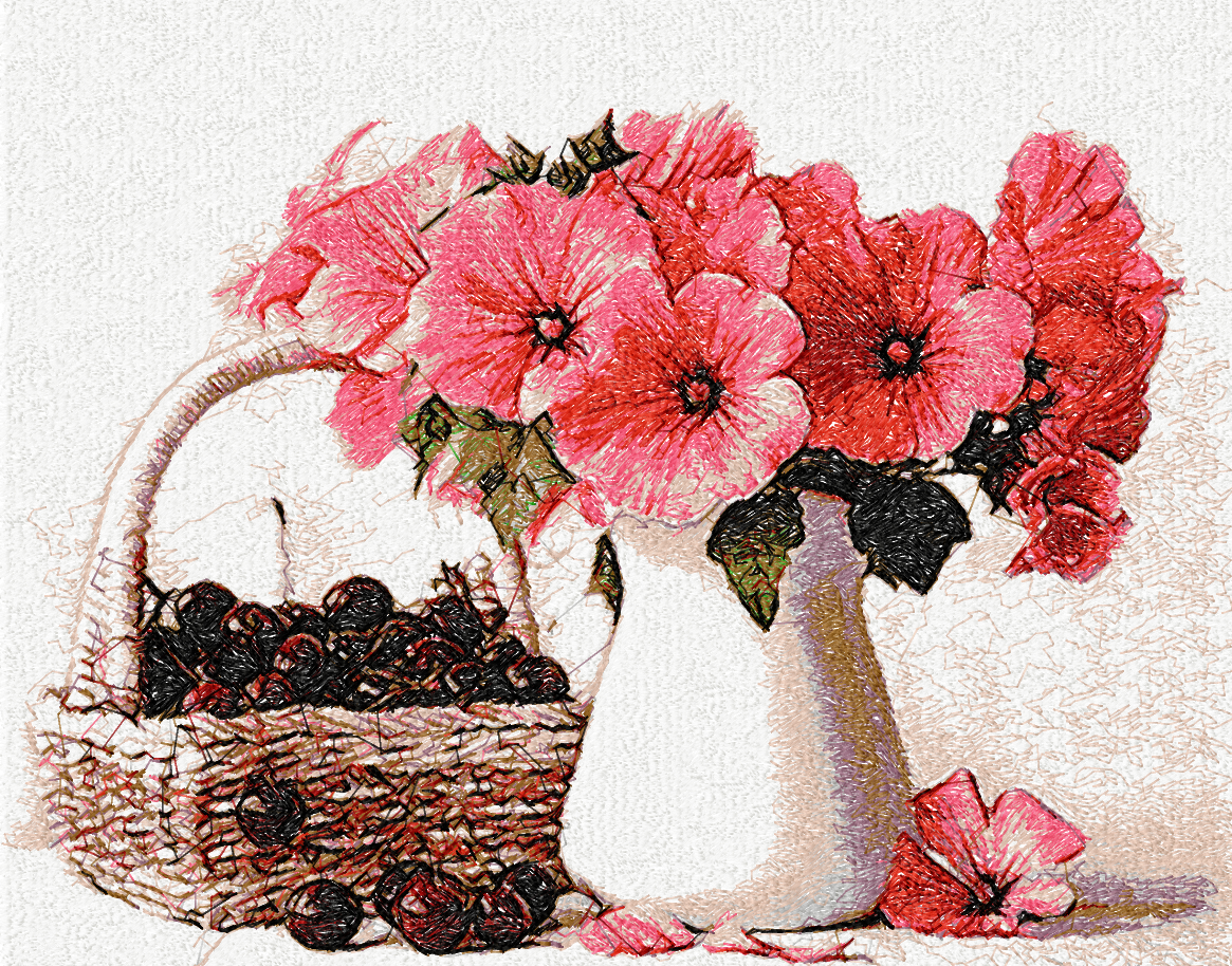 Fruits and flowers photo stitch free embroidery design