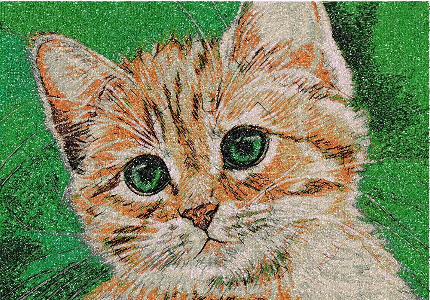 Kitten photo stitch free embroidery design 8