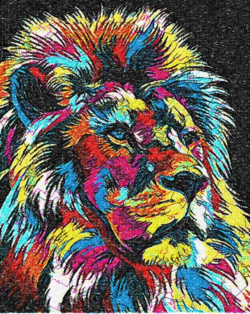 Lion In Bright Colors Photo Stitch Free Embroidery Design
