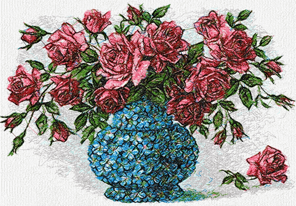Roses in vase photo stitch free embroidery design