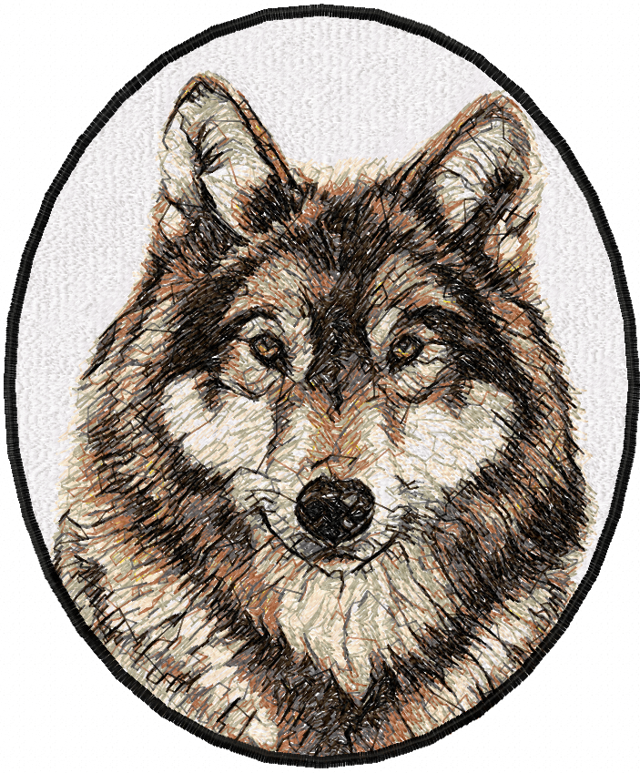 Wolf in oval photo stitch free embroidery design