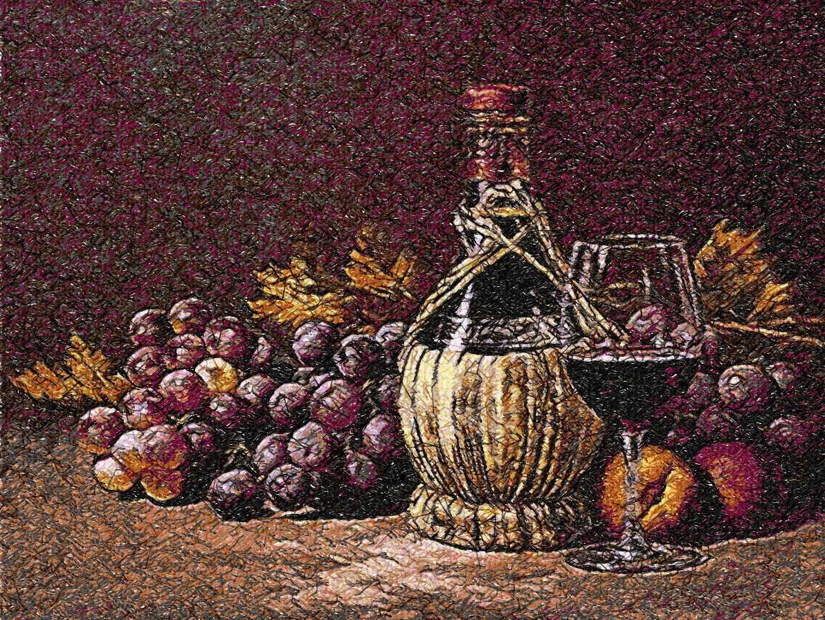 Wine and grape photo stitch free embroidery design