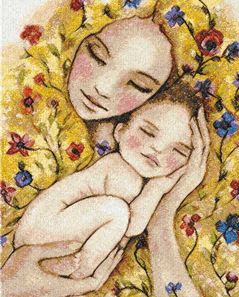 Mother's love photo stitch free embroidery design