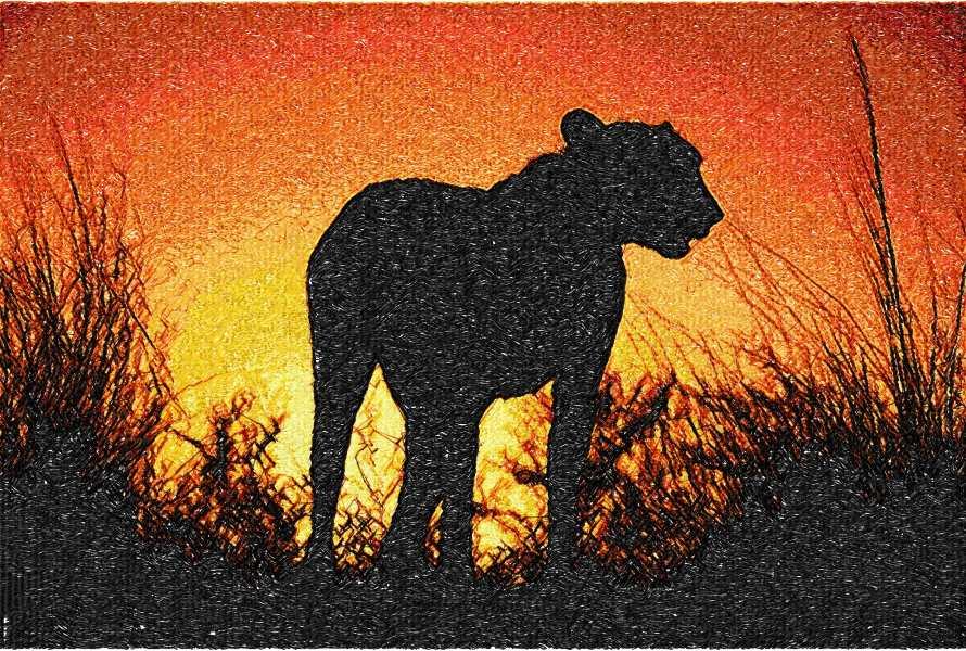 Africa sunset photo stitch free embroidery design