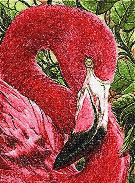 Flamingo photo stitch free embroidery design