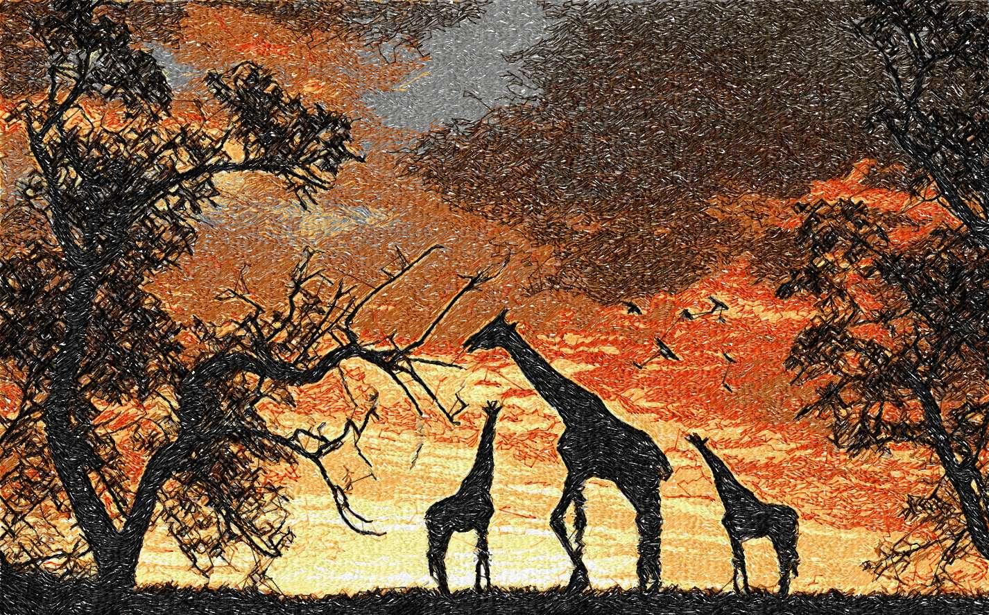 Africa sunset photo stitch free embroidery design 2