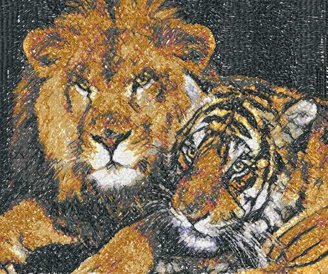 Lion and tiger photo stitch free embroidery design