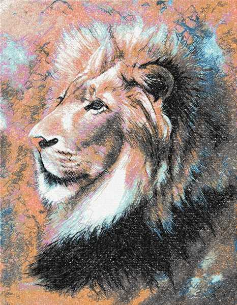 Lion modern color photo stitch free embroidery design