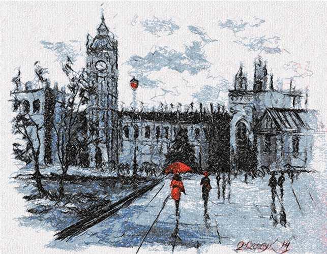 City and rain photo stitch free embroidery design