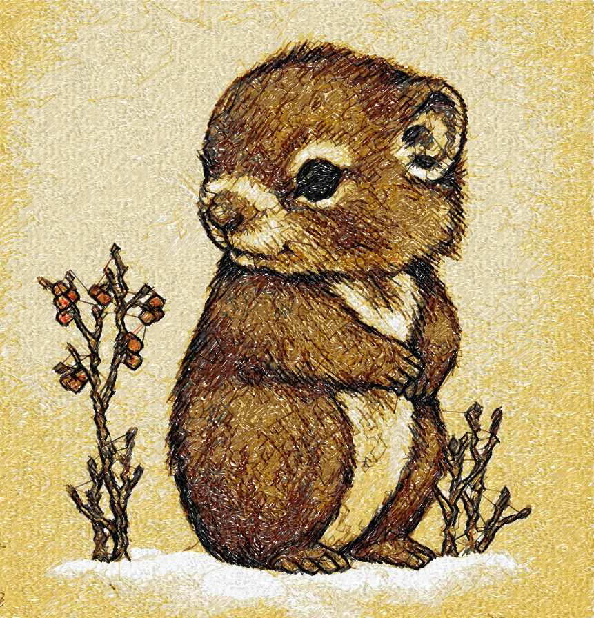 Cute little hamster photo stitch free embroidery design