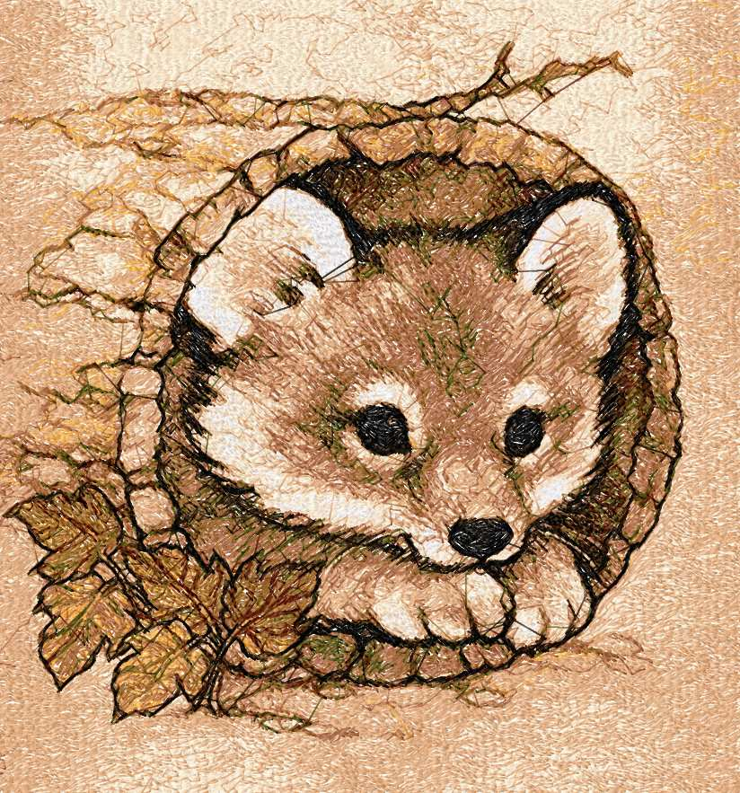 Little cute fox photo stitch free embroidery design