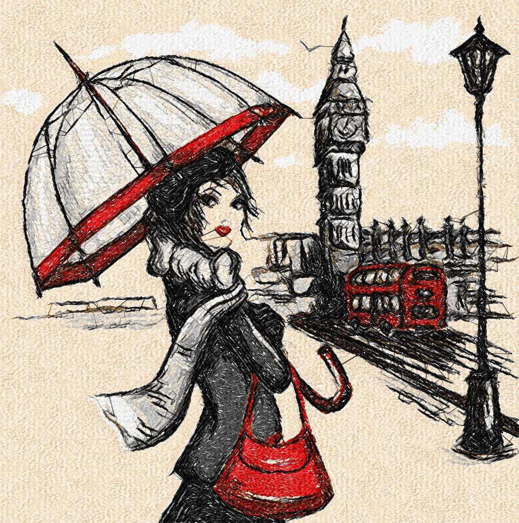 London and rain photo stitch free embroidery design
