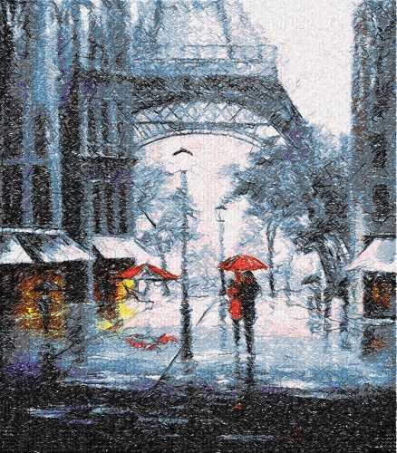 Paris rain photo stitch free embroidery design