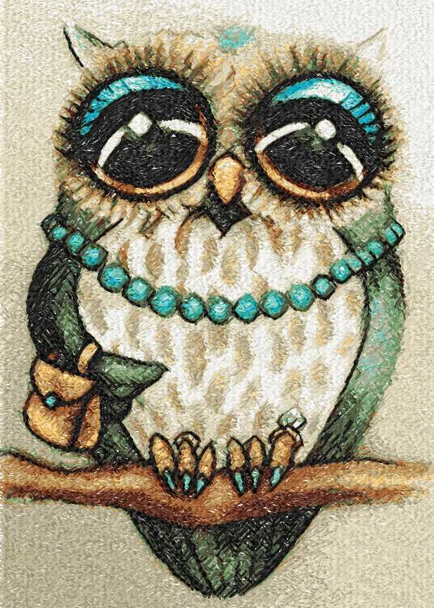 Owl lady photo stitch free embroidery design