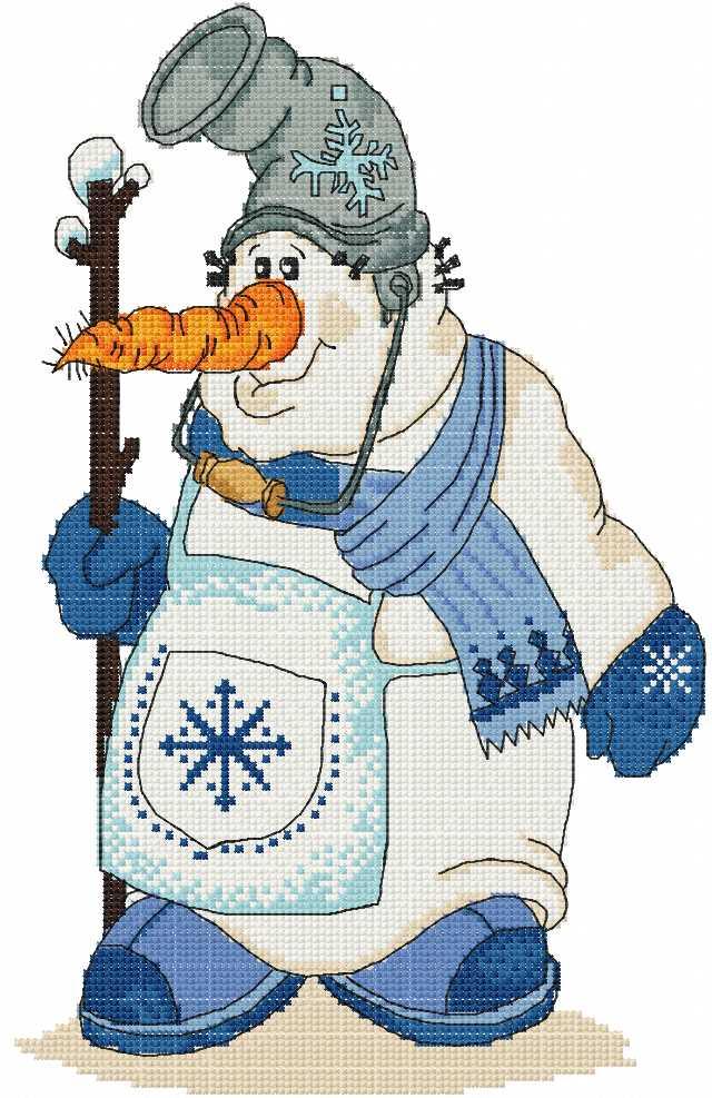 Strange Snowman cross stitch free embroidery design