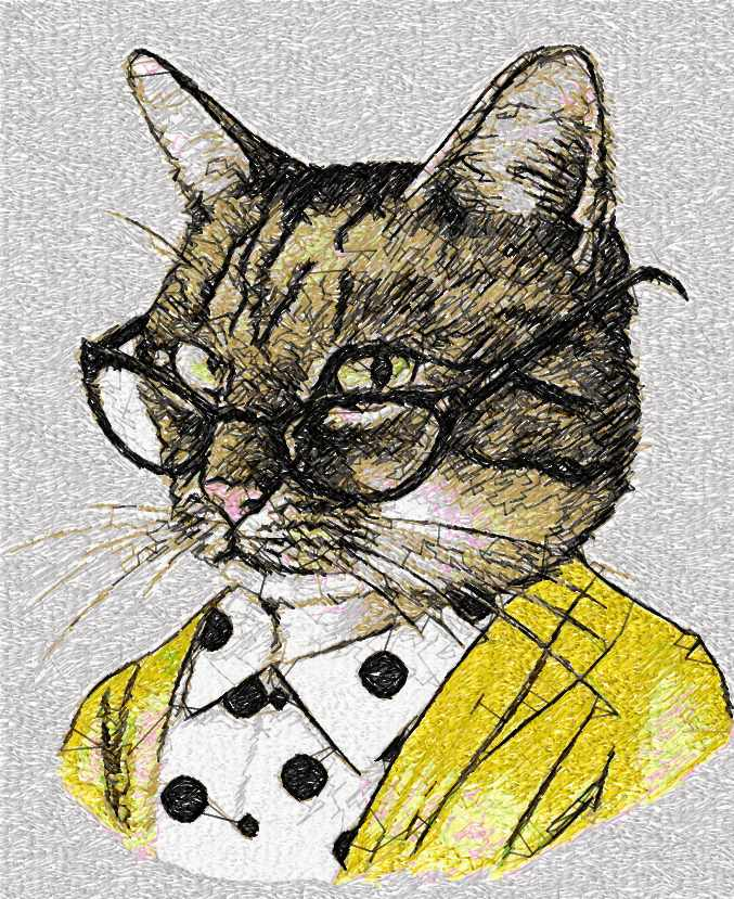 Cat with glasses photo stitch free embroidery design
