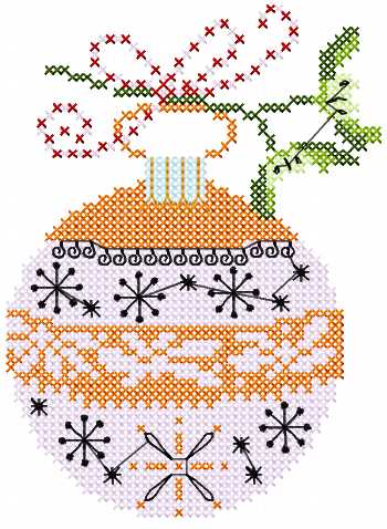 Christmas ball cross stitch free embroidery design 2