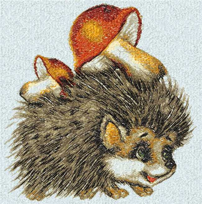 Hedgehog with mushrooms photo stitch free embroidery design