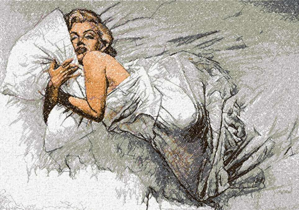 Marilyn Monroe sleep photo stitch free embroidery design