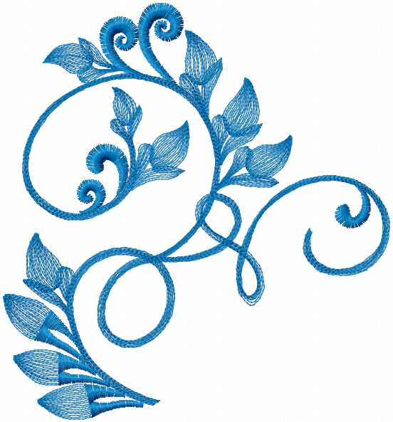 Blue Swirl Free Embroidery Design Decoration Machine Embroidery