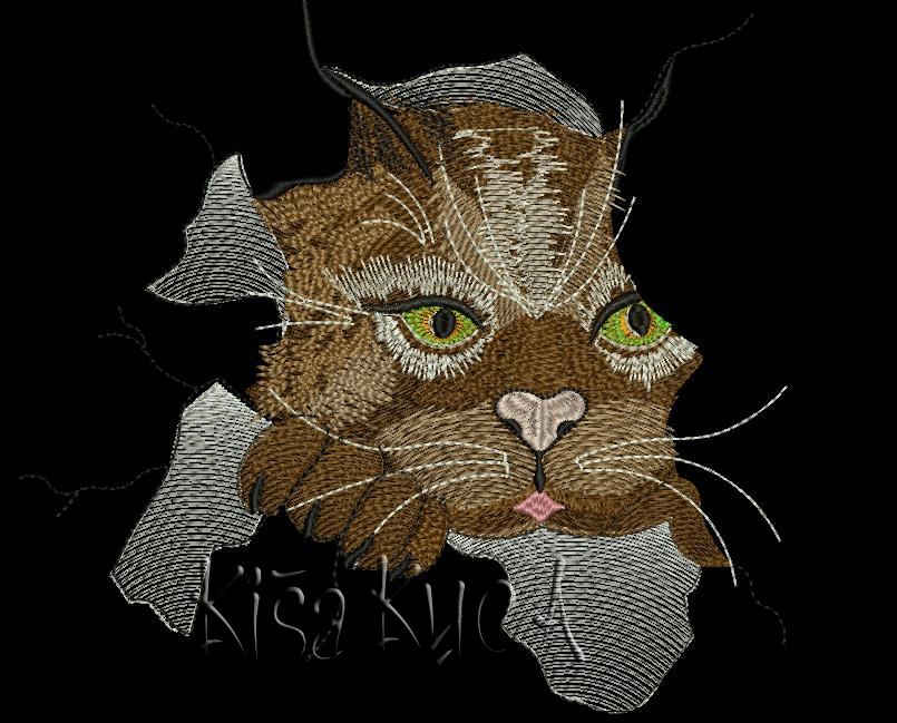 Angry cat free embroidery design