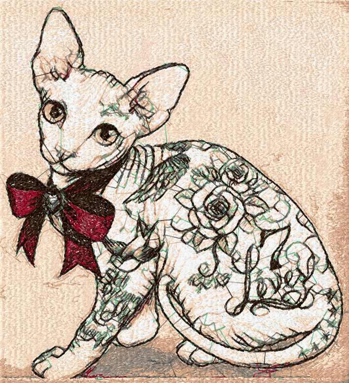 Cat sphinx photo stitch free embroidery design