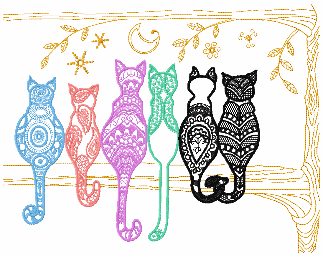 Rainbow cats free embroidery design