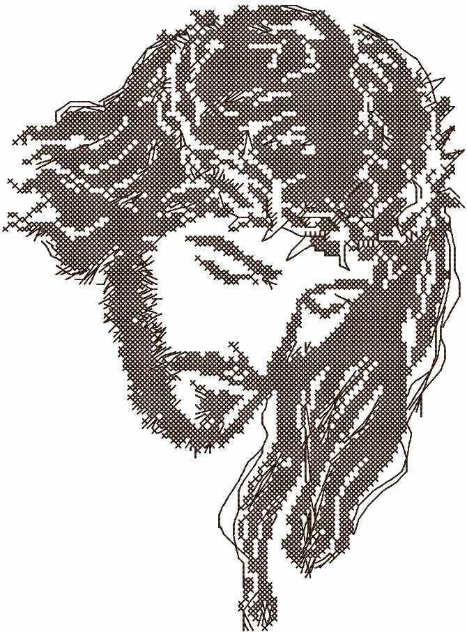Jesus Christ cross stitch free embroidery design