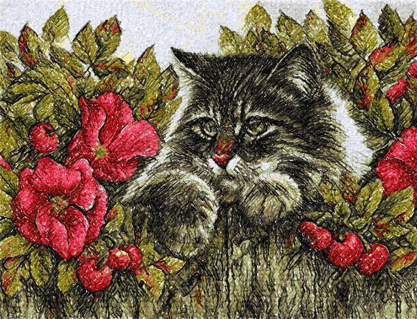 Cat in flowers photo stitch free embroidery desisgn 3