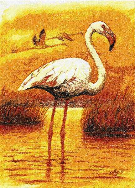 Flamingo photo stitch free embroidery design 2