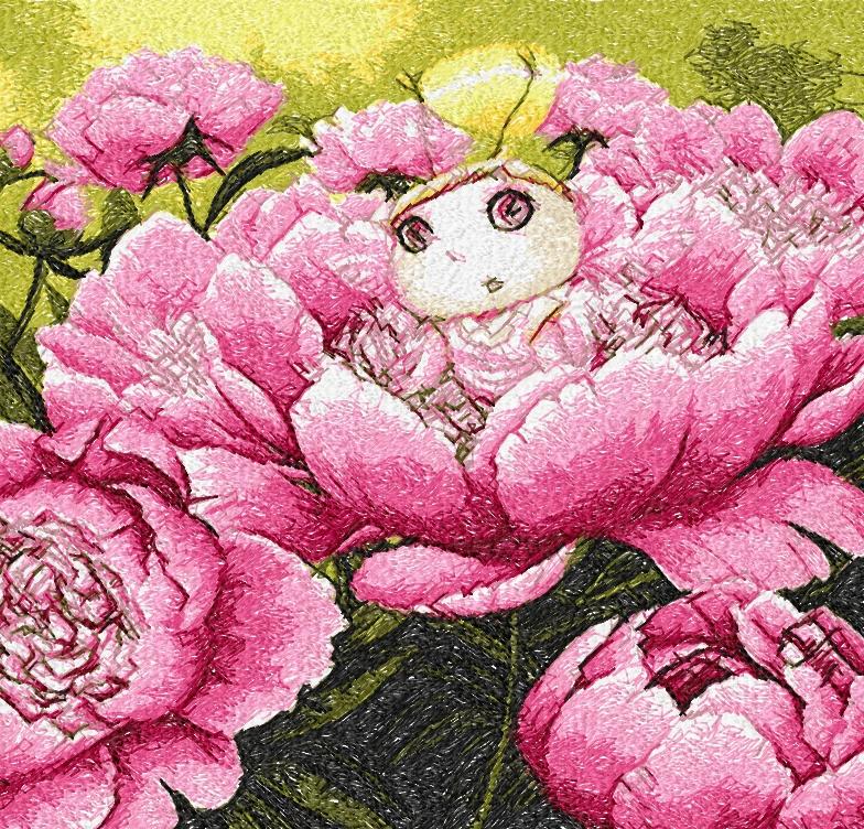 Pion fairy photo stitch free embroidery design