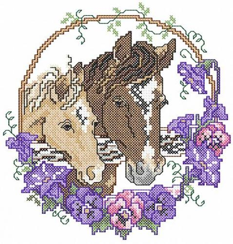 Two horses cross stitch free embroidery design 2