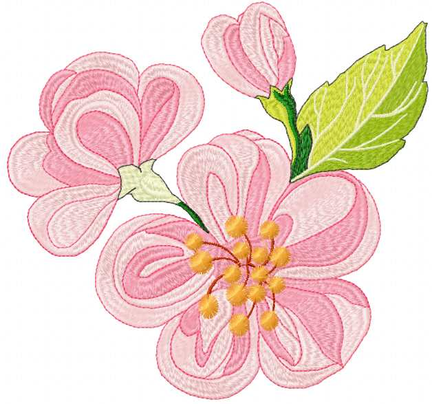 Apple flower free embroidery design