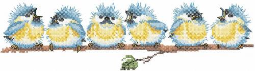 Small cute birds cross stitch free embroidery design