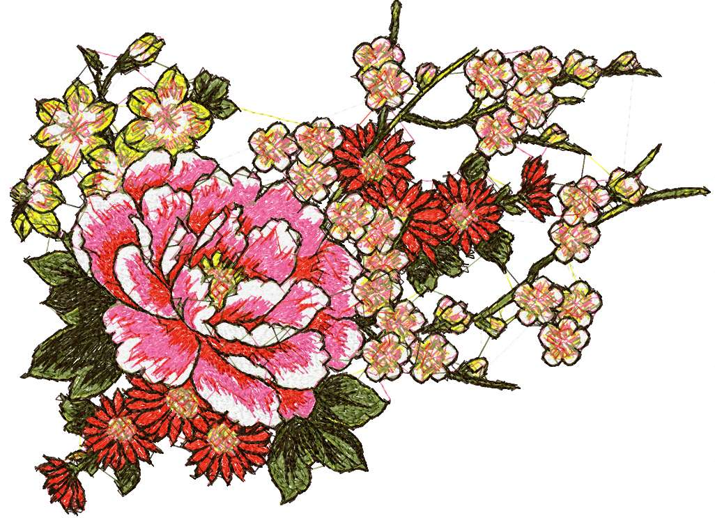 Flowers photo stitch free embroidery design 46
