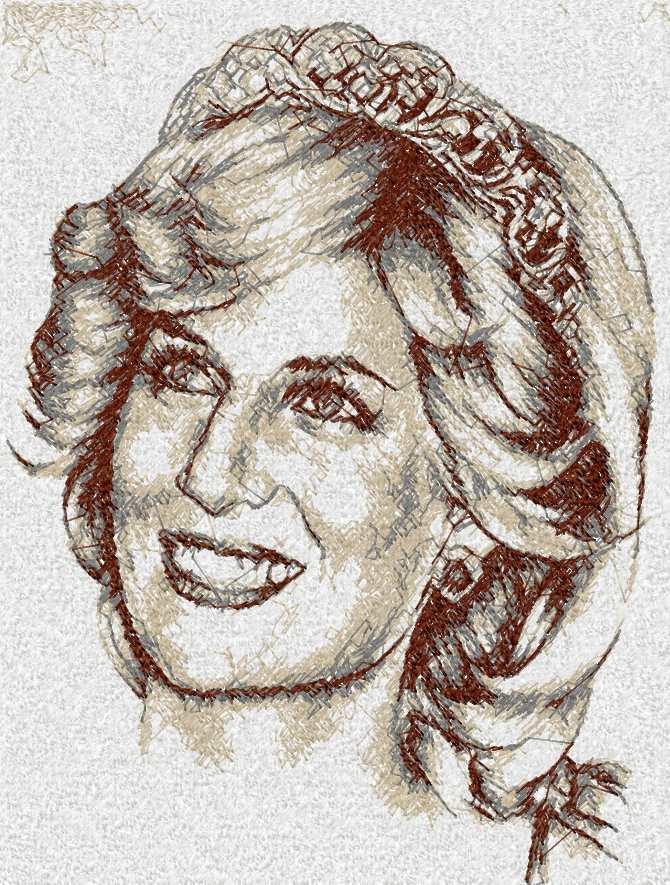 Lady Diana photo stitch free embroidery design