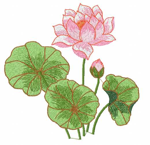 Lotos free embroidery design