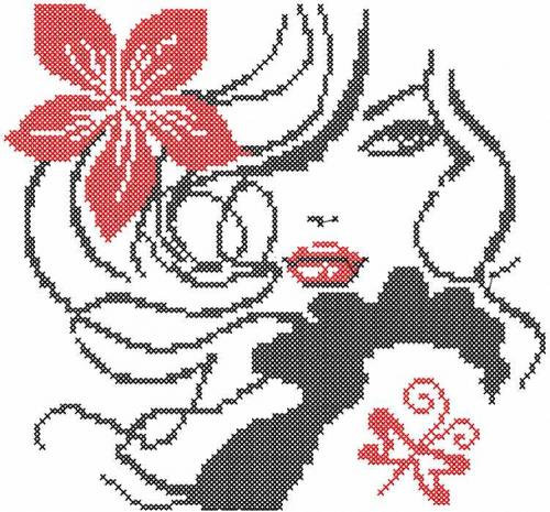Red And Black Cross Stitch Free Embroidery Design