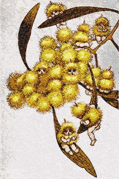 Snugglepot and Cuddlepie photo stitch free embroidery design