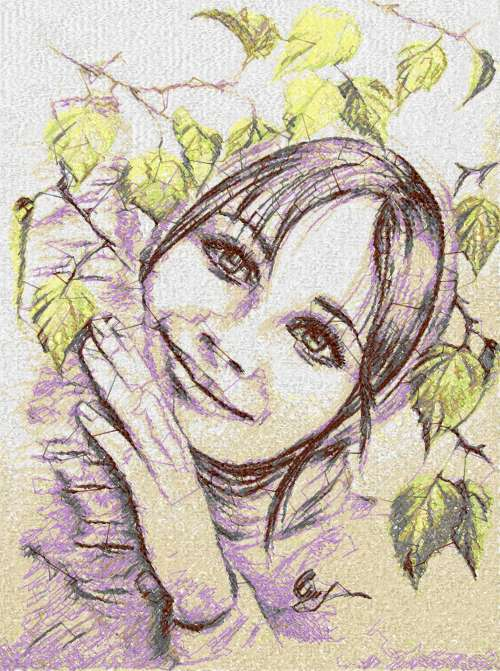 Spring girl photo stitch free embroidery design