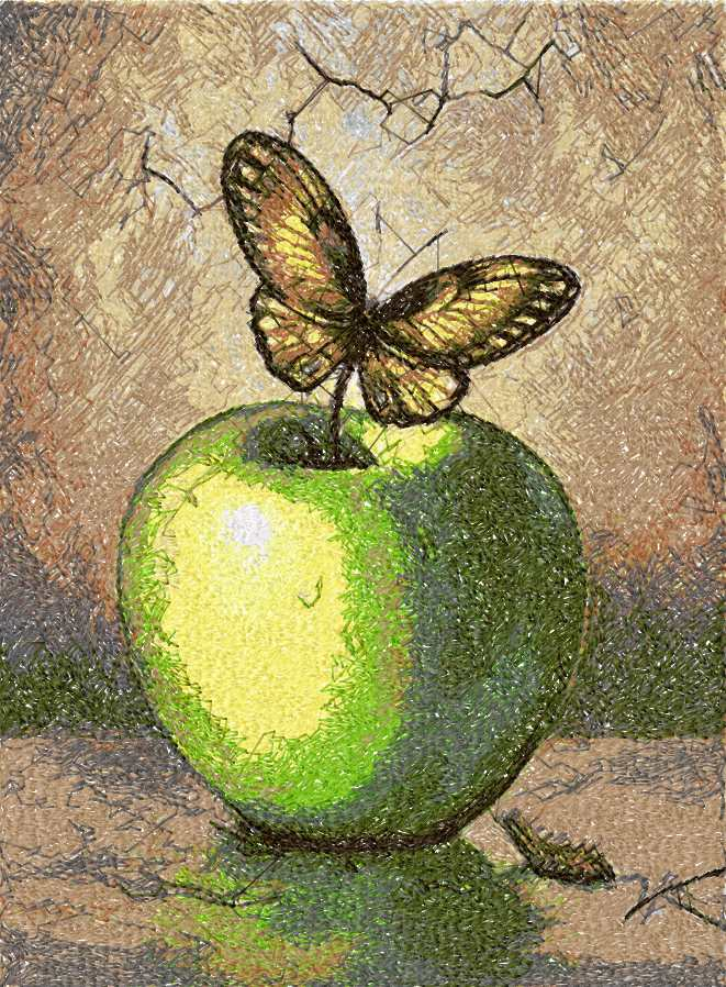 Apple and butterfly photo stitch free embroidery design