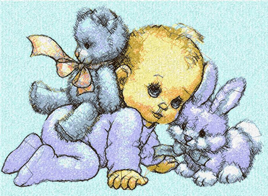 Baby And Toy Photo Stitch Free Machine Embroidery Design Photo