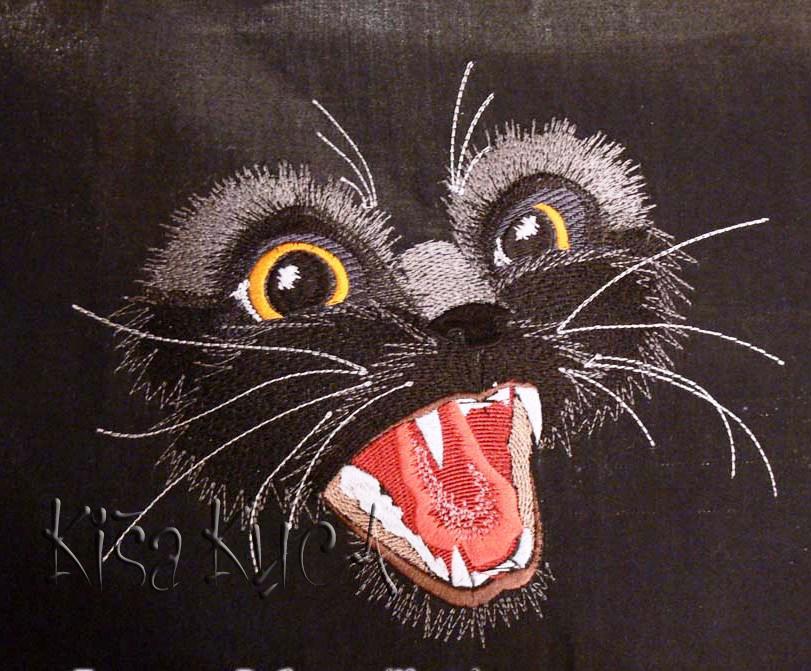 Kitten free machine embroidery design