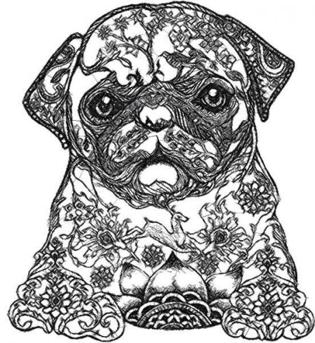 Mops Photo Stitch Free Machine Embroidery Design Photo