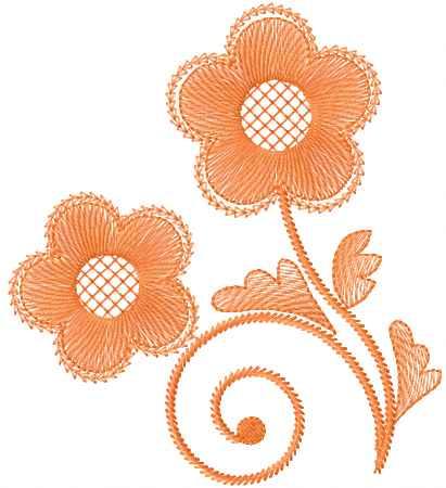Orange Flower Free Machine Embroidery Design Flowers Machine